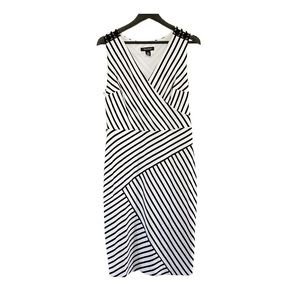 White House Black Market Striped Lace Up Dress